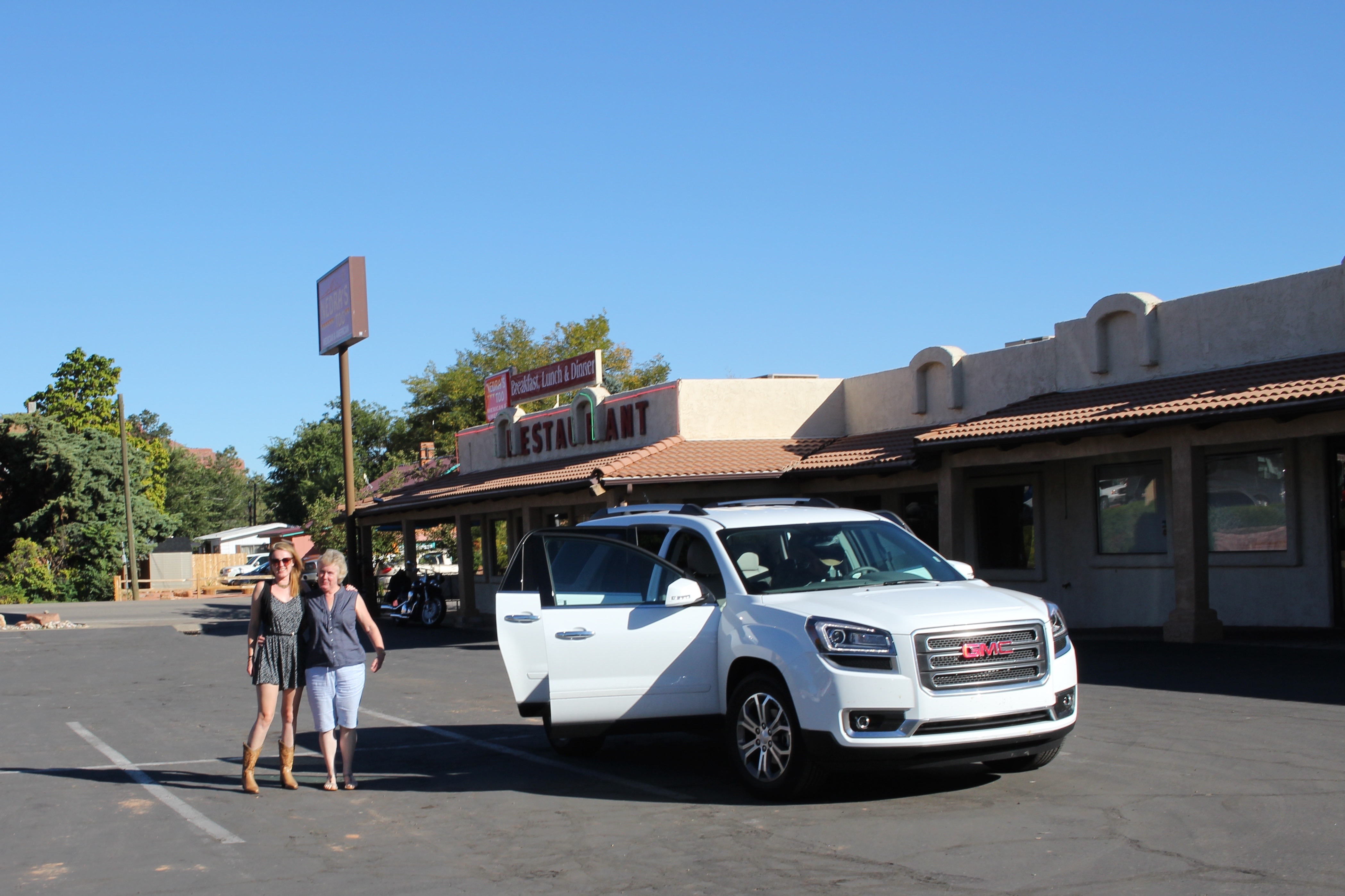 "The ""girls"" by our trusty stead in front of Nedra's in Kantab where we had lunch."